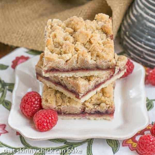 A stack of Raspberry Crumb Bars