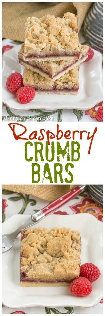 Raspberry Crumb Bars | Simple, but delectable bars with a layer of raspberry jam and a thick crumb topping!