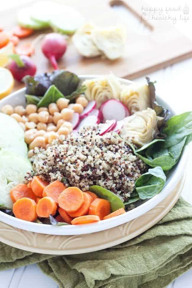 Tri Color Quinoa bowl in a white dish