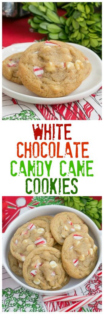White Chocolate Candy Cane Cookies   A chewy, buttery cookie filled with white chocolate chips and crushed candy canes