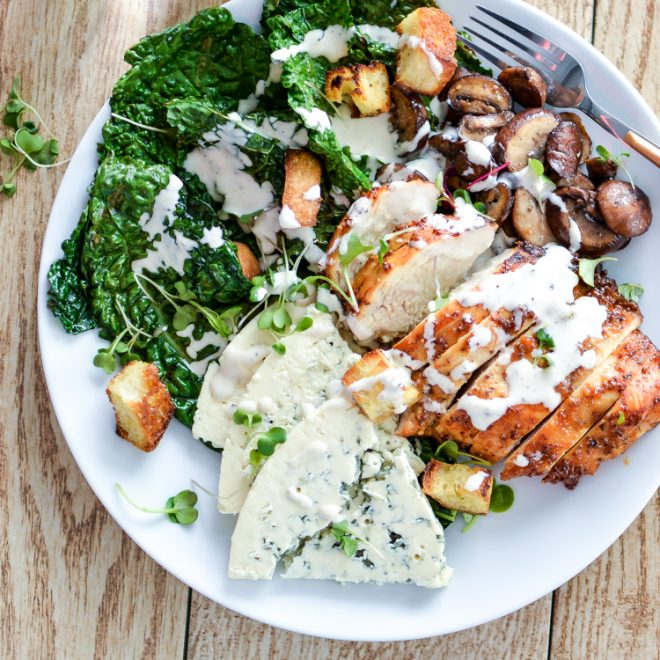 Charred Kale Salad with Honey Chipotle Chicken