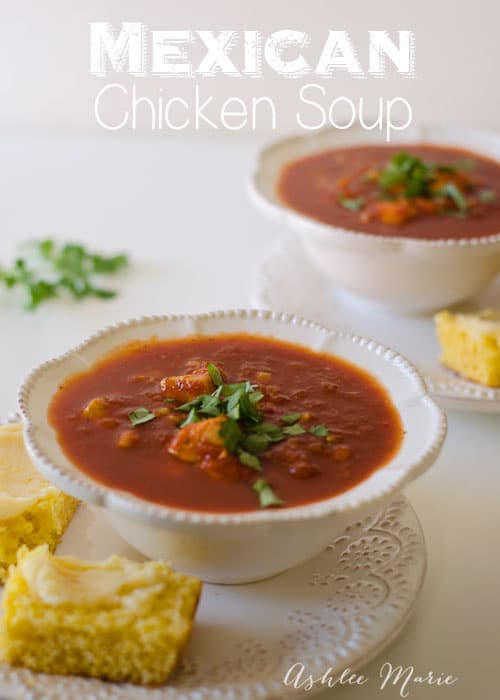 two bowls of Mexican chicken soup