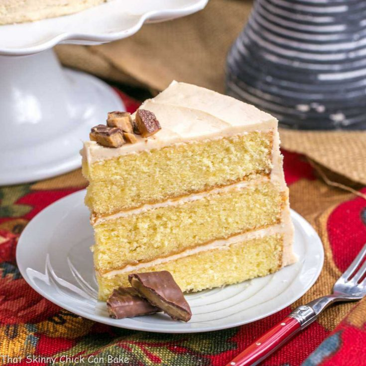 3 layers of moist buttermilk cake, with fluffy caramel buttercream frosting between each layer then garnished with chocolate toffee chips - perfect to make for any occasion.