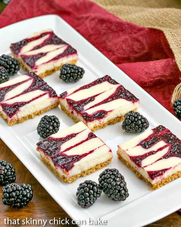 platter of fresh blackberries and Blackberry Cheesecake Bars