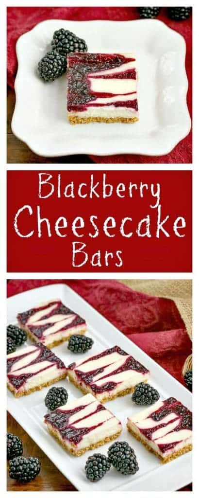 Blackberry Cheesecake Bars | Sublime cheesecake bars with swirls of blackberry jelly