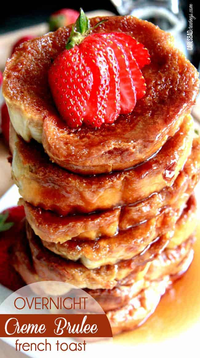 Overnight Creme Brulee French Toast topped with a strawberry