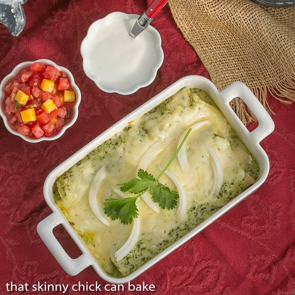 Enchiladas Suiza | Authentic Mexican Chicken Enchiladas with a creamy green sauce