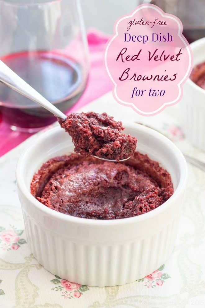 Deep Dish Red Velvet Brownies for Two in a white ramekin