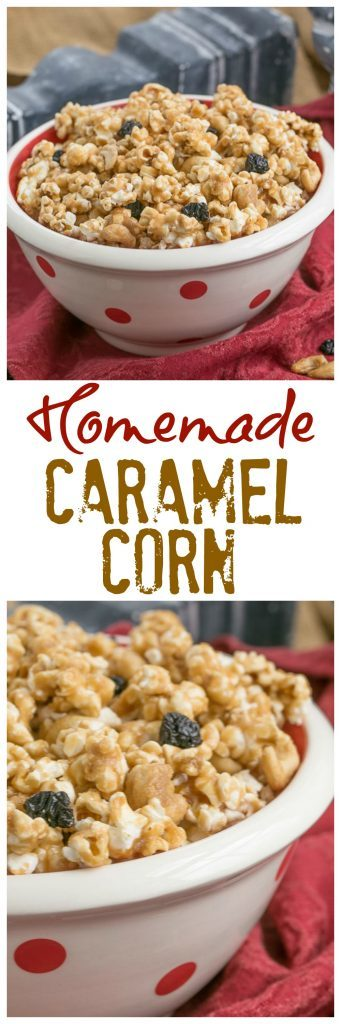 Photo Collage of Caramel Corn with Cashews and Cherries