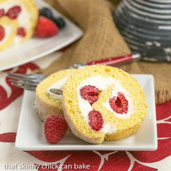 Berry Roulade   A jellyroll made with a sponge cake rolled around mascarpone cream and fresh berries