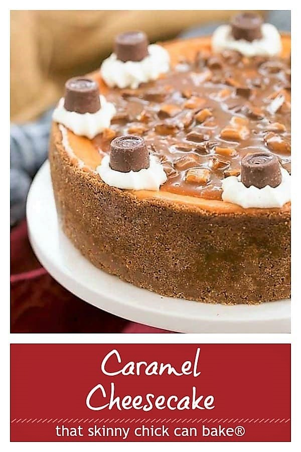 Caramel Cheesecake Pinterest text and photo collage