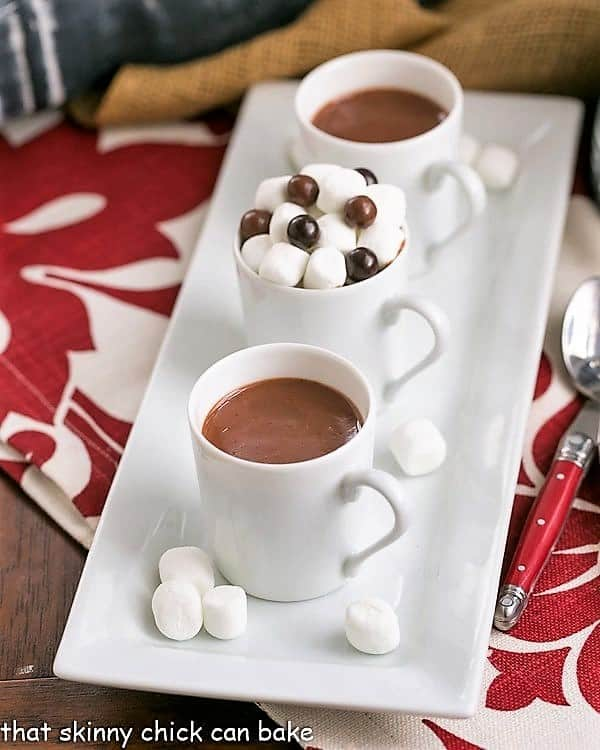 Two mugs of Italian Hot Chocolate on a white tray