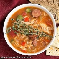 Overhead view of chicken Jambalaya soup