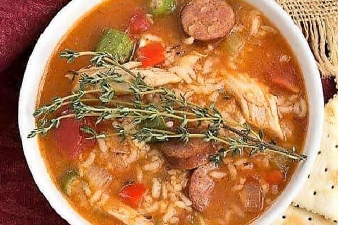 Overhead view of chicken Jambalaya soup
