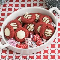 Red velvet thumbprint cookies in a white terrine with Valentine's Day hugs