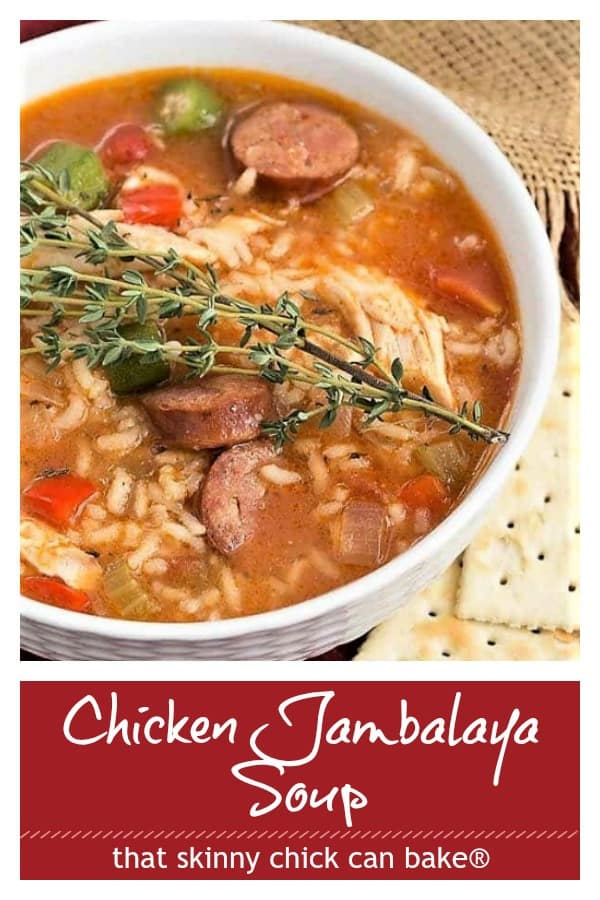 Chicken Jambalaya Soup photo and text collage for PInterest