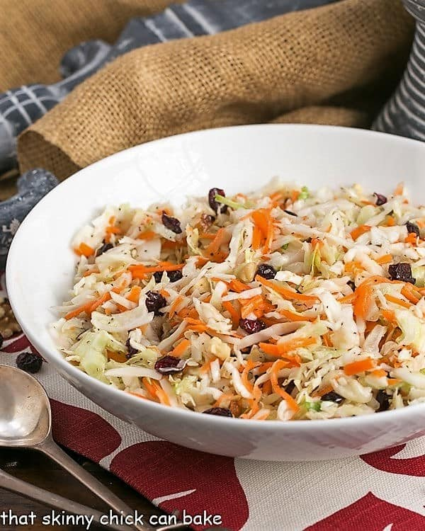 serving bowl filled with an easy Coleslaw made without mayo