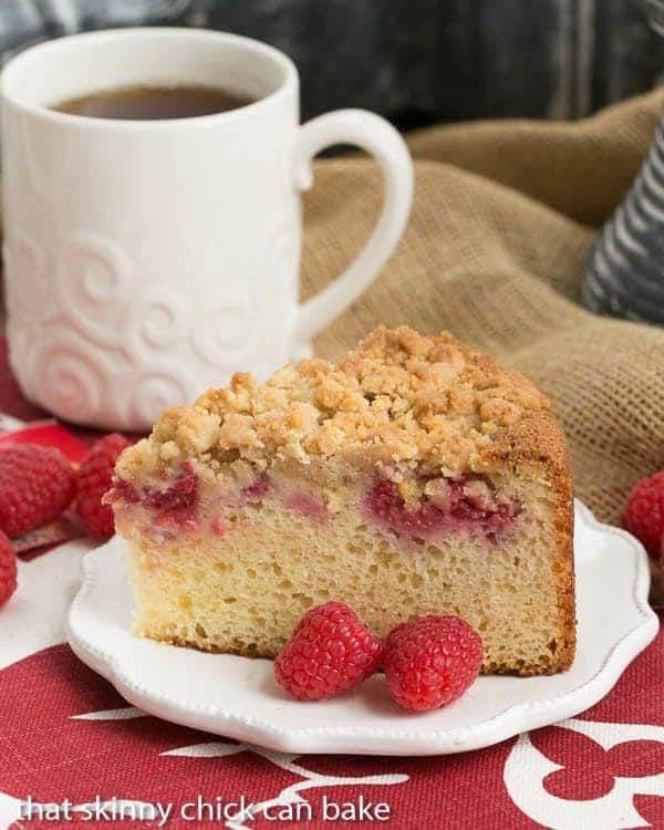 Raspberry Coffee Cake   With a sour cream base, loads of fresh berries and a streusel topping, you'll fall hard for this brunch treat!