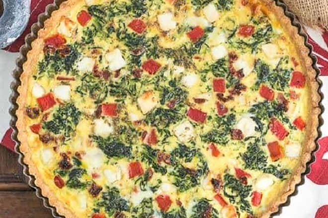 Overhead view of Sundried Tomato and Spinach Quiche