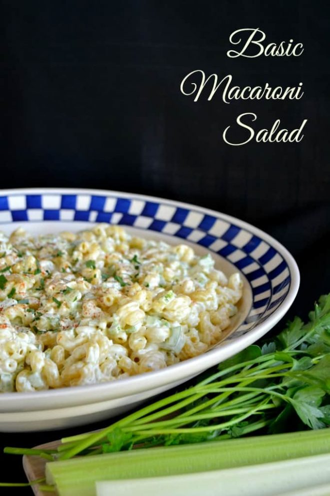 Macaroni Salad in a white bowl with a blue checked rim