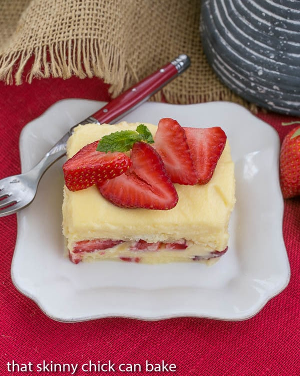 Berry Tiramisu | A strawberry twist on the Italian classic with mascarpone and Grand Marnier soaked ladyfingers!