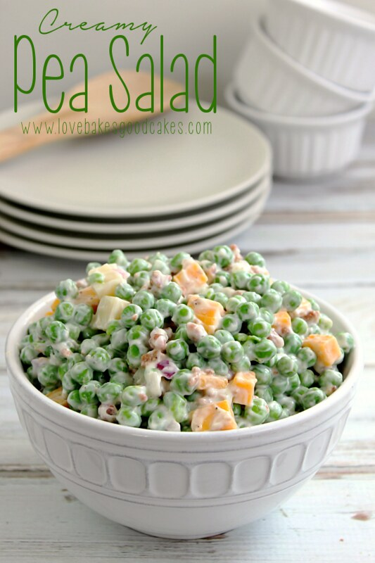 Pea salad in a white serving bowl