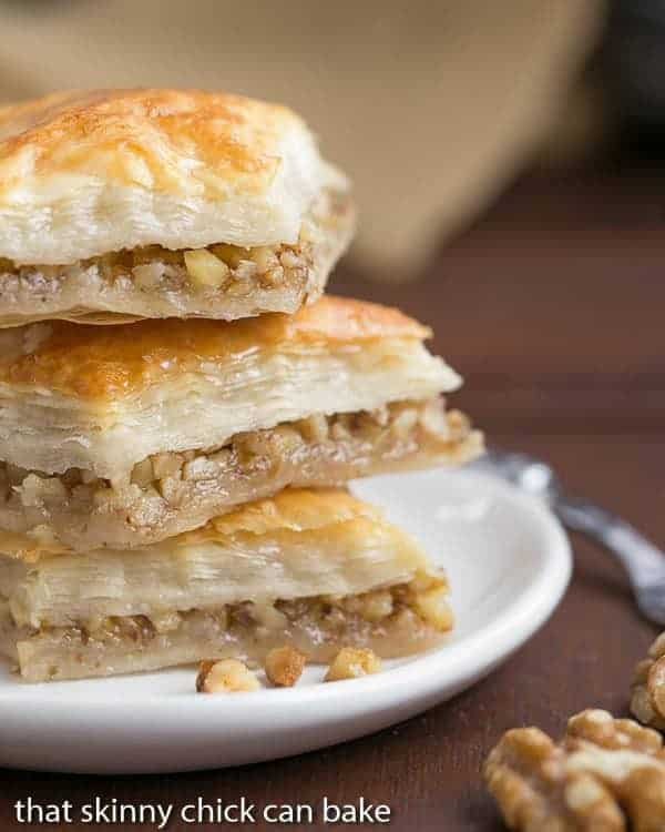 Gretchen's Baklava - My mom's baklava with layers of buttery filo & a walnut filling doused with orange blossom water kissed sugar syrup