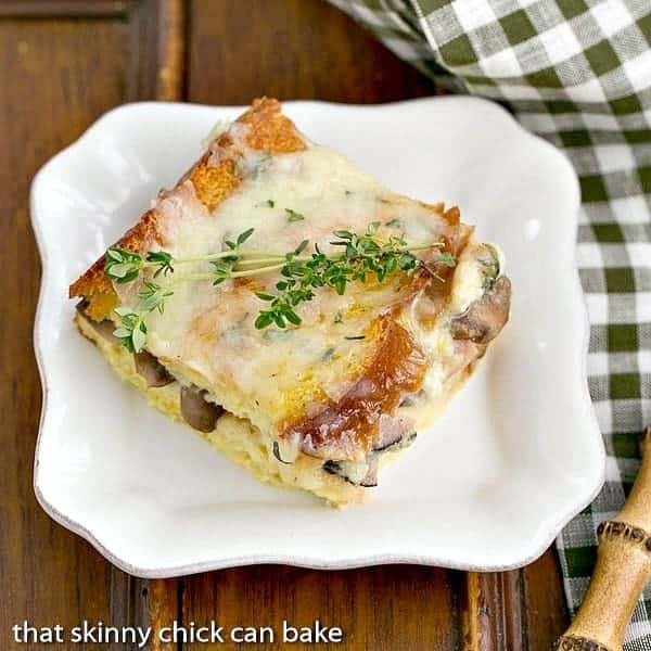 Ham and Mushroom Strata | A cheesy breakfast casserole that's perfect for any occasion!