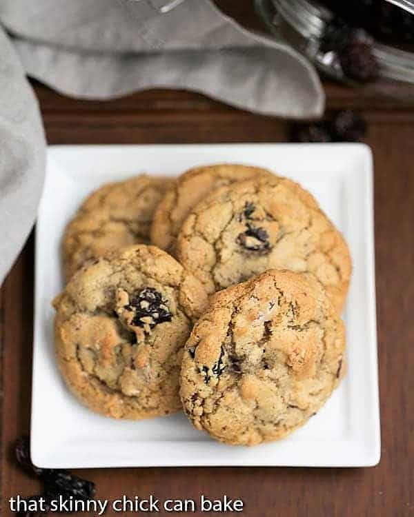 Oatmeal Chocolate Chunk Cookies on a square ceramic dish