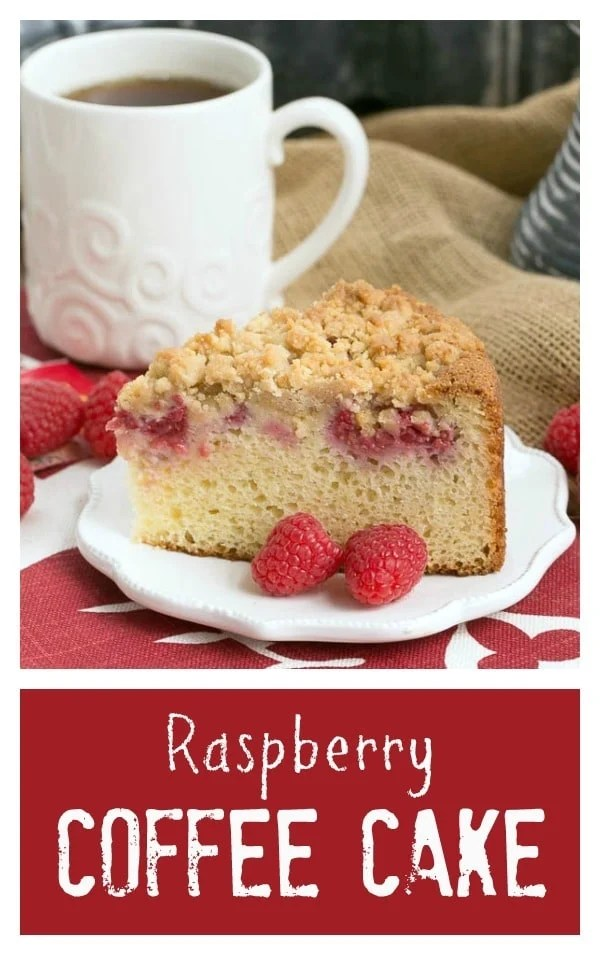 Raspberry Coffee Cake Collage with photo and text