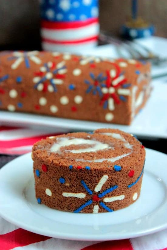 4th of July Cake Roll slice on a white dessert plate