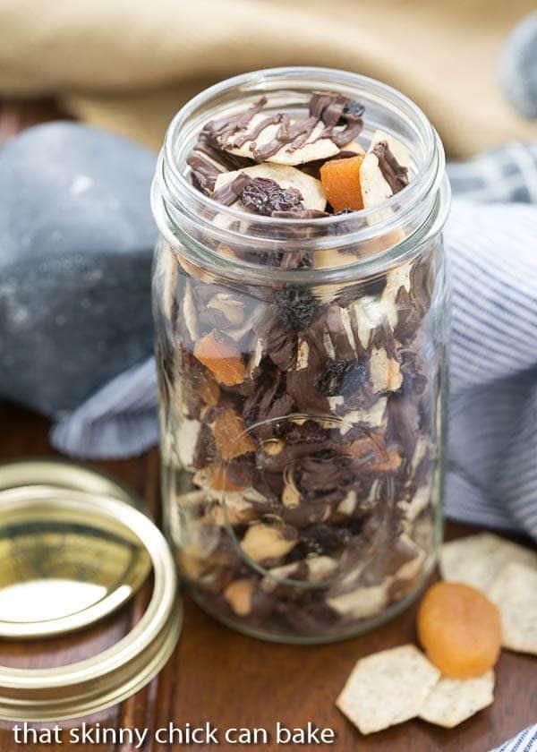 Chocolate Snack Mix in a mason jar