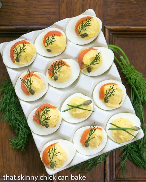 Smoked Salmon Deviled Eggs overhead view of a dozen in a white ceramic egg dish