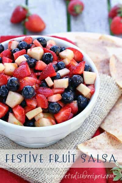 Festive Fruit Salsa in a white serving bowl