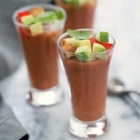 Gazpacho Shooters - a fun appetizer version of the classic Spanish cold tomato soup