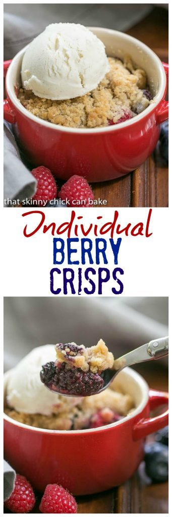 Individual Berry Crisps - A marvelous summer berry treat topped with a brown sugar streusel