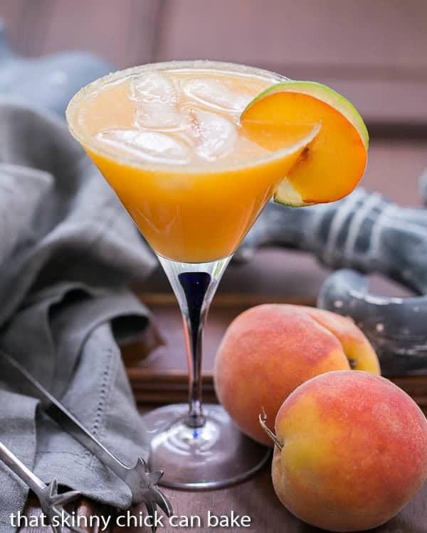 Fresh Peach Margaritas in a martini glass