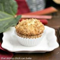 Streusel Topped Rhubarb Muffins | Moist, tender muffins filled with diced rhubarb and topped with a buttery streusel
