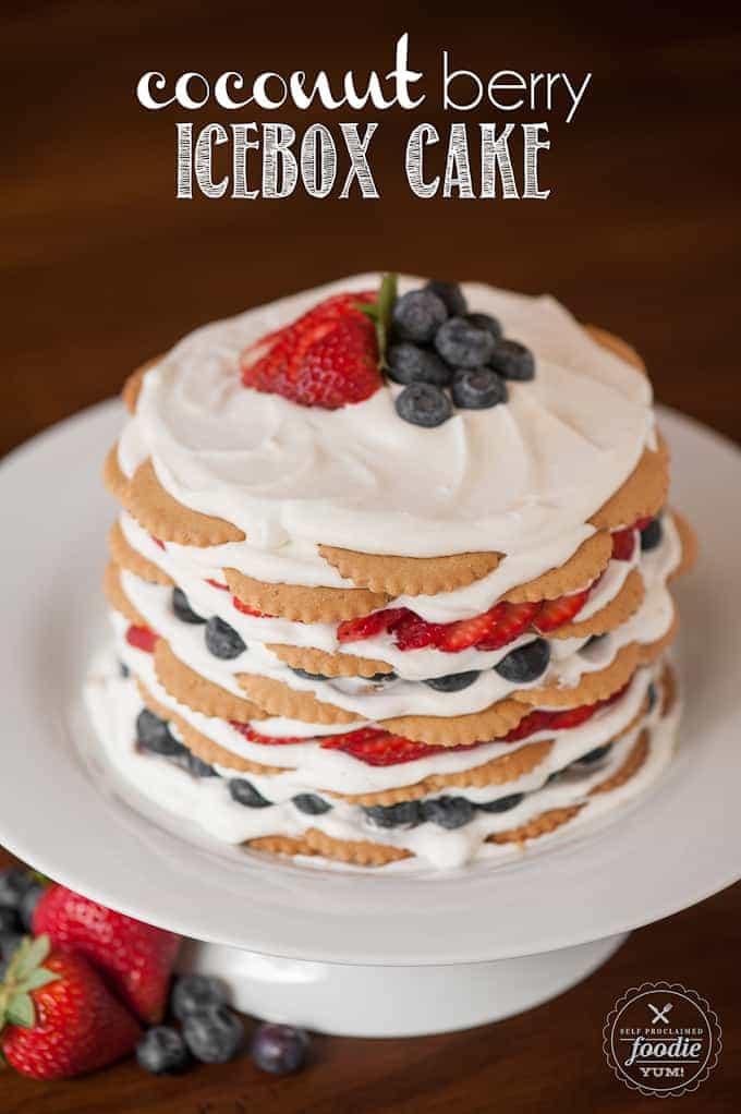 Coconut Berry Icebox Cake on a white cake plate