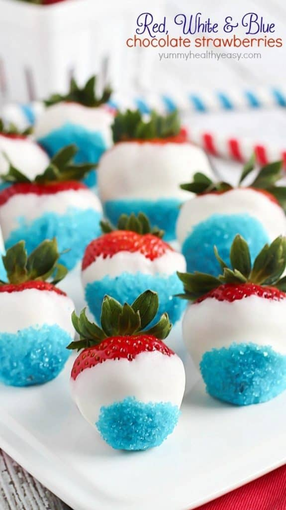 Red White and Blue Chocolate Strawberries on a white serving tray