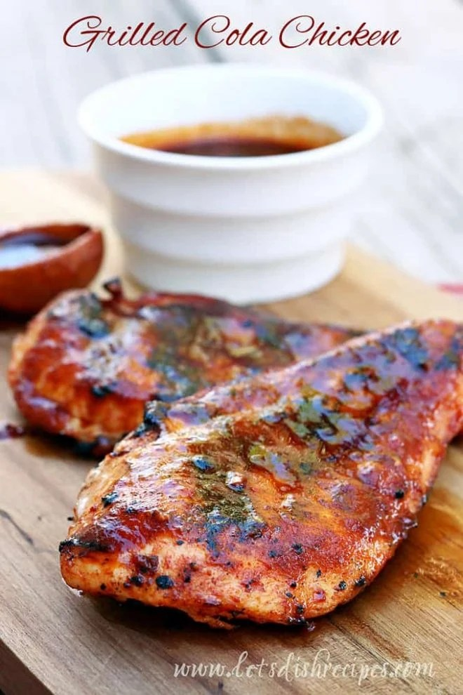 Grilled coca cola chicken on a cutting board