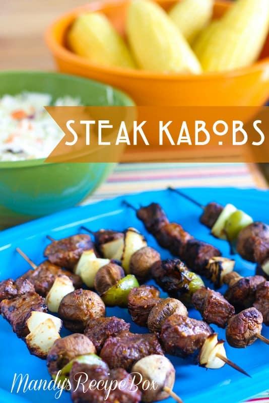 Steak kabobs on a blue plate