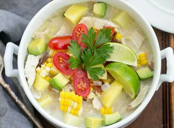 Bacon Corn Chowder   A summer soup full of corn, potatoes, chicken and smoky bacon!