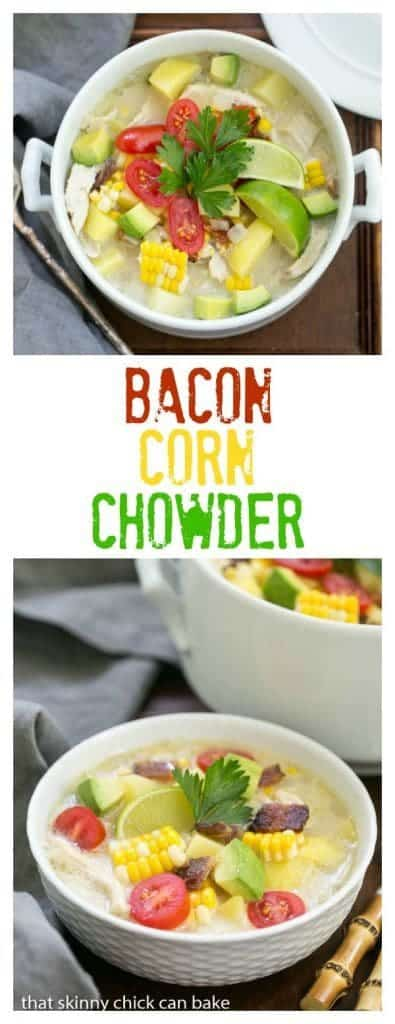 Bacon Corn Chowder pinterest photo and text collage