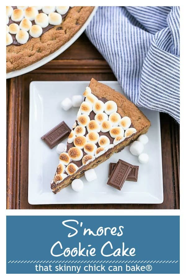 S'mores Cookie Cake - A tasty riff on the classic campfire treat! #smores #cookiecake #picnicdessert #chocolate #marshmallows #summerdessert #thatskinnychickcanbake