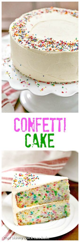 Funfetti Cake - A moist vanilla cake doused in vanilla syrup and iced with a delectable vanilla malt frosting!