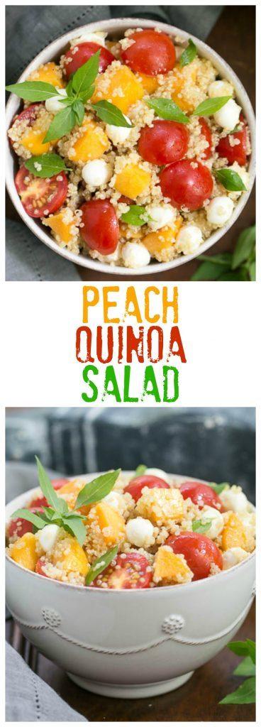 Peach Quinoa Caprese Salad | A tasty twist on the classic Italian salad with peaches and quinoa