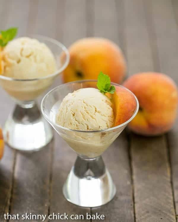 No Churn Roasted Peach Ice Cream in martini glasses
