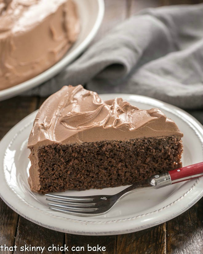Slice of a One Layer Mocha Cake on a white dessert plate with a fork