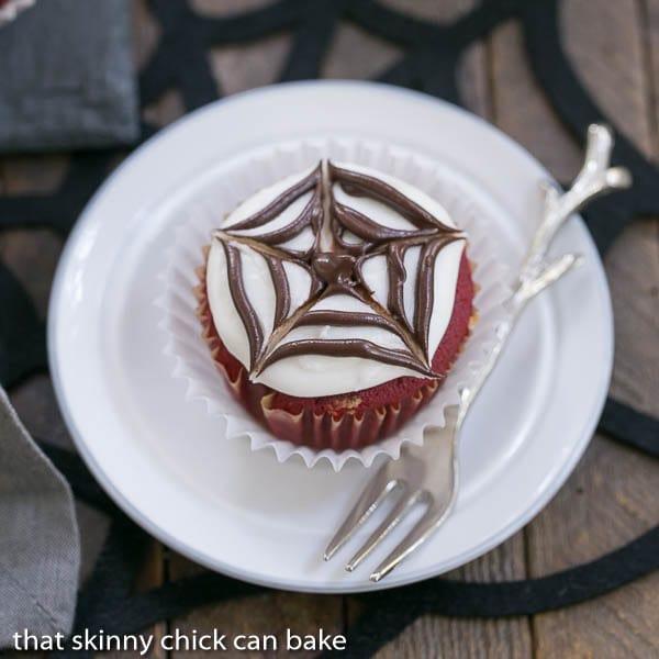 Spiderweb Cupcake on a small white plate